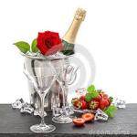 champagne och ros